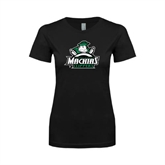 Next Level Ladies SoftStyle Junior Fitted Black Tee-Official Logo