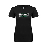 Next Level Ladies SoftStyle Junior Fitted Black Tee-Maine Machias Clippers