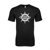 Next Level SoftStyle Black T Shirt-UMM Ships Wheel