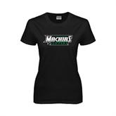 Ladies Black T Shirt-Maine Machias Clippers