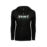 ENZA Ladies Black Fleece Full Zip Hoodie-Maine Machias Clippers