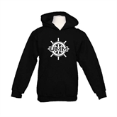 Youth Black Fleece Hoodie-UMM Ships Wheel