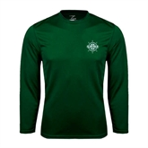 Performance Dark Green Longsleeve Shirt-UMM Ships Wheel