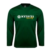 Performance Dark Green Longsleeve Shirt-University of Maine Machias Naturally
