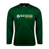Syntrel Performance Dark Green Longsleeve Shirt-University of Maine Machias Naturally