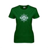 Ladies Dark Green T Shirt-UMM Ships Wheel