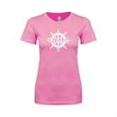 Next Level Ladies SoftStyle Junior Fitted Pink Tee-UMM Ships Wheel