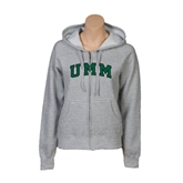 ENZA Ladies Grey Fleece Full Zip Hoodie-Arched UMM