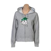 ENZA Ladies Grey Fleece Full Zip Hoodie-Clipper Head