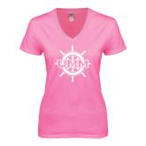 Next Level Ladies Junior Fit Deep V Pink Tee-UMM Ships Wheel