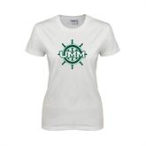 Ladies White T Shirt-UMM Ships Wheel