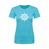 Ladies SoftStyle Junior Fitted Light Blue Tee-UMM Ships Wheel