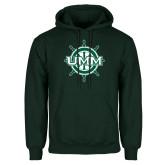 Dark Green Fleece Hood-UMM Ships Wheel