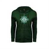 ENZA Ladies Dark Green Fleece Full Zip Hoodie-UMM Ships Wheel