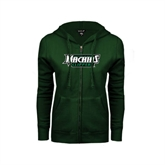 ENZA Ladies Dark Green Fleece Full Zip Hoodie-Maine Machias Clippers