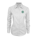 Ladies White Twill Button Down Long Sleeve-UMM Ships Wheel