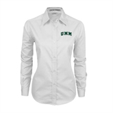 Ladies White Twill Button Down Long Sleeve-Arched UMM