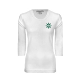 Ladies White 3/4 Sleeve Scoop Neck-UMM Ships Wheel