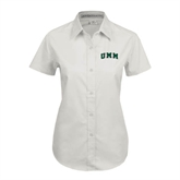Ladies White Twill Button Up Short Sleeve-Arched UMM
