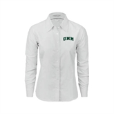 Ladies White Oxford Shirt-Arched UMM