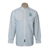 Mens White Oxford Long Sleeve Shirt-UMM Ships Wheel