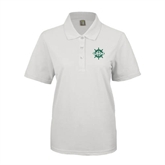 Ladies Easycare White Pique Polo-UMM Ships Wheel