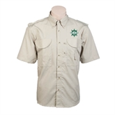 Khaki Short Sleeve Performance Fishing Shirt-UMM Ships Wheel
