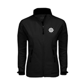 Ladies Black Softshell Jacket-UMM Ships Wheel