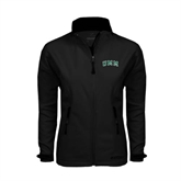 Ladies Black Softshell Jacket-Arched UMM