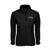 Ladies Black Softshell Jacket-Arched UMM