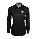 Ladies Black Twill Button Down Long Sleeve-UMM Ships Wheel
