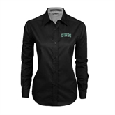 Ladies Black Twill Button Down Long Sleeve-Arched UMM