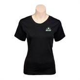 Ladies Black Stretch Scoop Neck-Official Logo