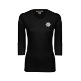 Ladies Black 3/4 Sleeve Scoop Neck-UMM Ships Wheel