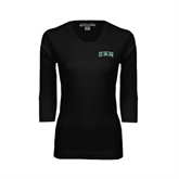 Ladies Black 3/4 Sleeve Scoop Neck-Arched UMM