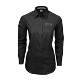 Ladies Black Tonal Pattern Long Sleeve Shirt-Arched UMM
