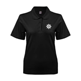 Ladies Easycare Black Pique Polo-UMM Ships Wheel