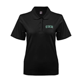 Ladies Easycare Black Pique Polo-Arched UMM