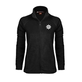 Ladies Fleece Full Zip Black Jacket-UMM Ships Wheel