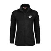 Ladies Fleece Full Zip Black Jacket-UMM Ships Wheel