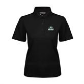 Ladies Black Dry Mesh Polo-Official Logo
