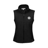 Ladies Fleece Full Zip Black Vest-UMM Ships Wheel
