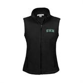 Ladies Fleece Full Zip Black Vest-Arched UMM