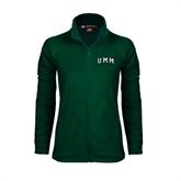 Ladies Fleece Full Zip Dark Green Jacket-Arched UMM