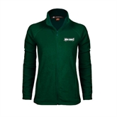 Ladies Fleece Full Zip Dark Green Jacket-Maine Machias Clippers