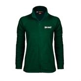 Ladies Fleece Full Zip Dark Green Jacket-Maine Machias Clippers