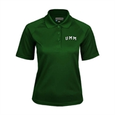 Ladies Dark Green Textured Saddle Shoulder Polo-Arched UMM