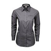 Ladies Grey Tonal Pattern Long Sleeve Shirt-Arched UMM