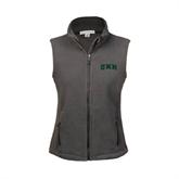 Ladies Fleece Full Zip Charcoal Vest-Arched UMM