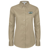 Ladies Khaki Twill Button Down Long Sleeve-Maine Machias Clippers